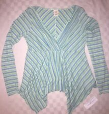 NWT Tommy Jeans Hilfiger Women's Top L Cotton stripe tunic green blue white