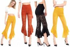 Flower Machine Washable Regular Size Pants for Women