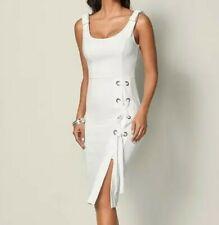Venus sz Medium/Large White Lace up Sleeveless Dress Lined NWT    B3