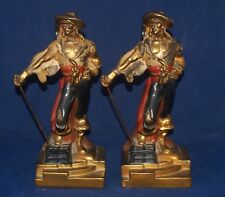 ANTIQUE ART DECO PAIR OF PIRATE FIGURAL BOOK ENDS ARMOR BRONZE CLAD