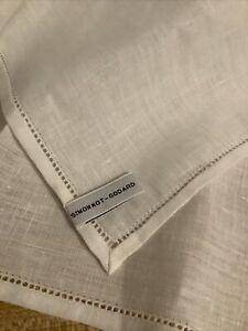 Simonnot Godard Made in France 100% Linen Beige Pocket Square Handkerchief 13X13