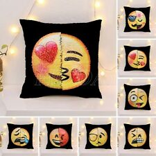 Reversible Face Emoji Decorative Pillow Case Sequin Cushion Home Sofa Decor DIY