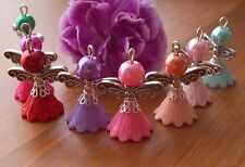 8x Handmade Angel Fairy Charms Pendants Opaque Flower Beads COLOURS MAY VARY