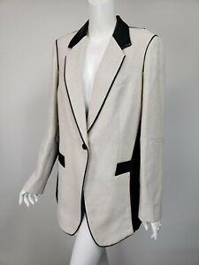 SOSKEN Marisa Minicucci Carla Ivory Black Linen Cotton Leather Blazer 4 US XL