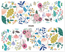 Nail Art Stickers Water Decals Transfers Colourful Flowers (WG286)
