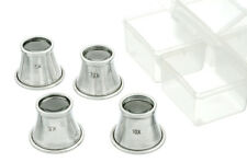 "4pc Eye Jewelers Loupe Set 7/8"" Dia Glass Lens w/ Aluminum Body 2.5x 5x 7.5x 10x"