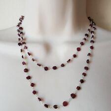Garnet Sterling Silver Beaded Necklace Natural  Red Gemstones Button Disk  Boho