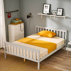 4FT6 Double Bed Frame Solid Wood Slatted Bedstead Home Bedroom Furniture Grey
