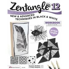 ZENTANGLE 12-TECHNIQUES IN BLACK&WHITE-Line Drawing Altered Art Paper Craft Book