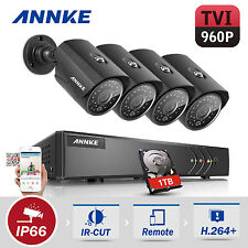 ANNKE 1080P 4CH CCTV DVR 960P Bullet Outdoor Cameras Security Kit 1TB HDD Remote