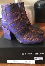 STRATEGIA FABRIC LEATHER ANKLE BOOTS MULTICOLOR BLOCK HEELS Italy Size 7 (EU 37)