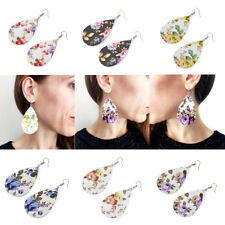 Rose Floral Print Teardrop Leather Earrings for Women Unique Earrings Jewelry