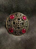 Vintage Celtic Scottish Polished red Glass Brooch 2265