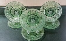"""6 Vintage Green Sandwich Glass Plates 7 1/4"""" by Indiana Glass"""