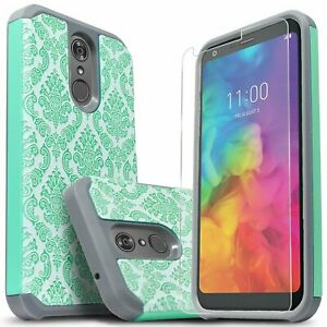 For LG Q7 Plus Case, Dual Layer Shockproof Cover+Tempered Glass Screen Protector
