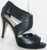 Franco Sarto Voter black leather peep toe zip scalloped platform heels 9.5M