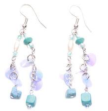 Ladies Blue Clear Beaded Turquoise Stone Drop Pearl Tasseled Earrings(Zx66)