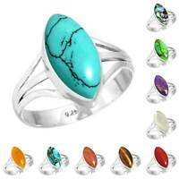 925 Sterling Silver Gemstone Ring Women Jewelry Size 5 6 7 8 9 10 11 12 13 WX117