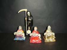 "225 SET  LADY and 3 MINI PIOUS RED-GOLD-BLACK STATUES 3"" HOLY DEATH SANTA MUERTE"