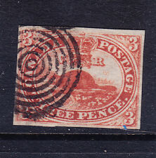 CANADA COLONY 1852 SG5 3d red - imperf 4 margs - fine bulls-eye cancel cat £225