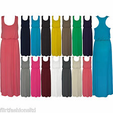 Womens Balloon Maxi Dress Ladies Sleeveless Racer Back Jersey Vest Long Greek