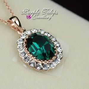 18CT Rose Gold GP Elegant Emerald Pendant Necklace Made With SWAROVSKI Crystals