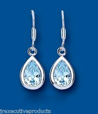 Blue Topaz Earrings Sterling Silver Drop Topaz Pear Drops
