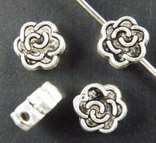 150pcs Tibetan Silver Rose Flower Bead Spacers 7x3mm zn327