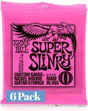 6 X Packs Ernie Ball 2223 Nickel Super Slinky Pink Electric Guitar Strings