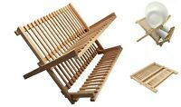 Beech Wood Foldable Kitchen  Dish Drainer Folding Wooden Plate Cups Drying Rack