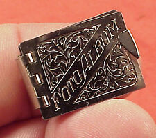 Minature Rare Charm 1in Silver Opens for 6 Photo Memory Book Album Pendant 1950s