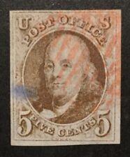 TDStamps: US Stamps Scott#1 5c Franklin Used