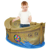 Charles Bentley Pirate Boat Ball Pit Play Tent Made of Polyester - 50 Balls