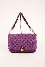 "Marc Jacobs NWT $1695 Purple Satin Studded ""Beat Bag"" Chain Strap Shoulder Bag"