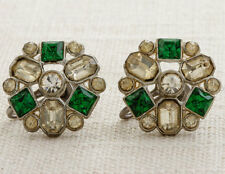 Vintage Rhinestone Earrings Clip On Emerald Green Round Abstract Clipons Vtg 7B