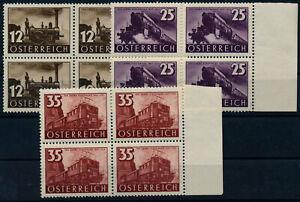 Österreich 1937 646-648 EISENBAHN, komplette Satz, 4-BLOCK! Postfr. ** Kw:100,-€