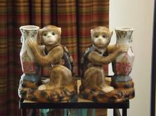 Pair Chinese Lucky Monkey Vases Figurines Bookends YA WAN ZHEN CANG Mark EXC