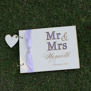 Wooden Personalized Engraved Names Wedding guest book album,Valentine gift