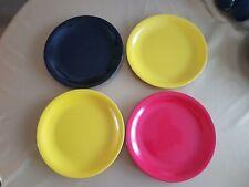 "4 x 1960s Melaware Melmex 9 1/2"" Picnic Camping Plates Melamine Red Yellow Black"
