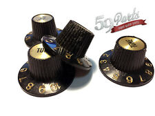 SET OF 4 AGED RELIC GIBSON 335 WITCH HAT KNOBS BLACK/GOLD US SIZE 59 PARTS