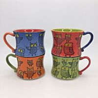 PIER 1 IMPORTS Multi-Colored Stackable Owl Mugs 4 Coffee Cups - Free Shipping