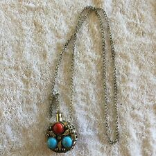 Vintage Style Silver Tone Faux Turquiose Gemstone Container Pendant Necklace