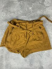 FOREVER 21 PAPERBAG STRIPED SHORTS BELTED HIGH RISE BROWN SIZE L
