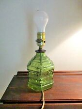 Vintage Green Glass Bottle Lamp  Small in size  Original Wiring