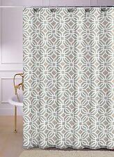 Lynden Aqua Blue Taupe Brown Geometric Fabric Shower Curtain
