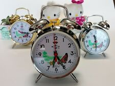 Wind Up Mechanical Alarm Clock Vintage Metal Ticktock Clock Dia.10cm Table Clock