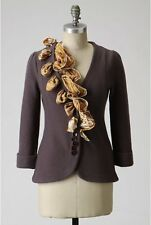 Anthropologie HWR Monogram Brown Scarf Trick Sweater Boiled Wool Silk Cardigan S