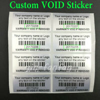 100 Silver Custom Printed Tamper Proof Warranty Void Labels Stickers Seals 4*2cm