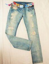 DESIGUAL Femmes Coton Hippie Distressed Jeans tube pantalon s 34 36 w 27 L 34