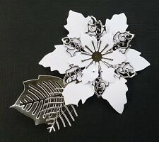 Set of 4....  White Card with Silver Foil  POINSETTIAS.. Christmas Die-Cuts